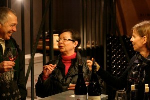 Aline Bonfils and Stephanie Fumoso of Domaine du Gour de Chaulé, with Neal Rosenthal